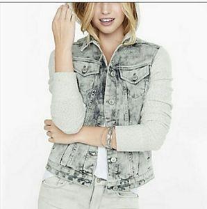 Express acid washed sweater jean jacket grey